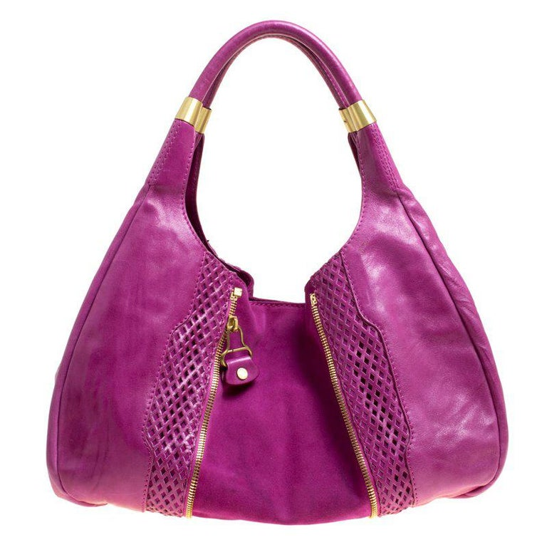 7e0f0d8d65 Jimmy Choo Hot Pink Perforated Leather and Suede Mandah Hobo For Sale