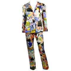 Christian Lacroix Vintage Lacerated Poster Pop Art Blazer and Pant Suit