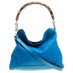 Gucci Blue Leather Medium Diana Bamboo Shoulder Bag