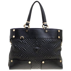 Versace Black Textured Leather Medusa Tote