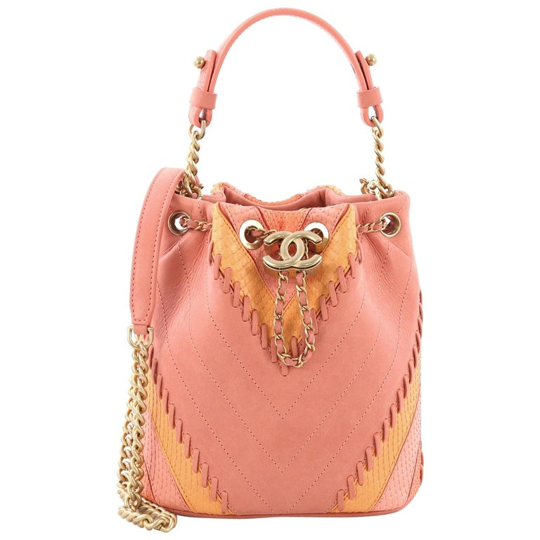 8603a87030e6 Chanel CC Drawstring Bucket Bag Whipstitch Chevron Leather and Python Small  For Sale