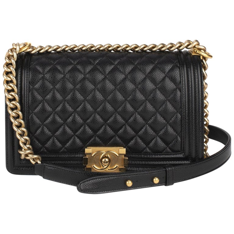 c91d2bbc259c Handbag Chanel Boy Old medium (25cm) in Black Caviar Leather, GHW, like.