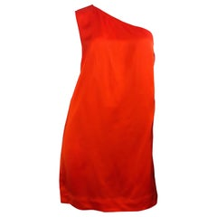 Stella McCartney F/W 2010 Bright Orange Sz 42 / 6-8 One Shoulder Mini Dress