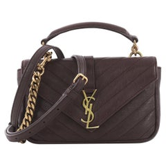 Saint Laurent Classic Monogram College Chain Wallet Matelasse Chevron Leather