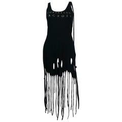 Christian Lacroix Vintage Black Fringed Dress Size S