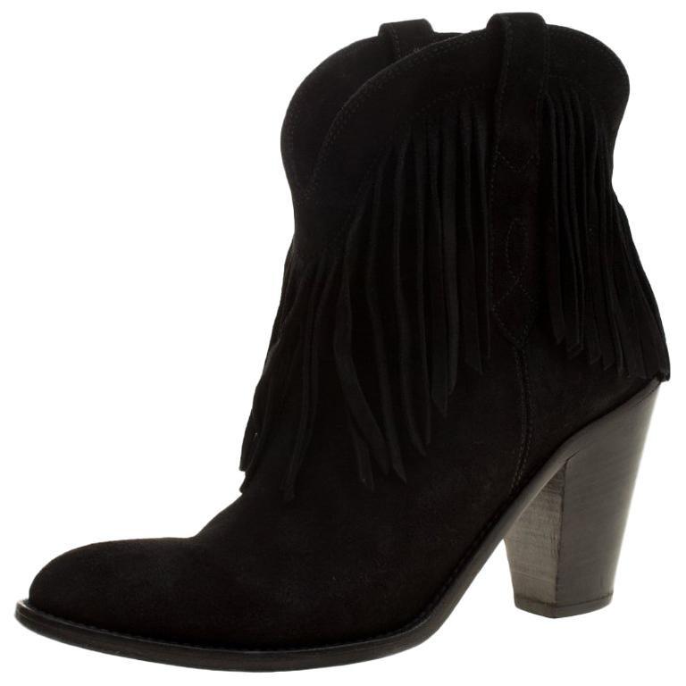 7d18fc361c0 Saint Laurent Paris Black Suede Fringe New Western Boots Size 37 For Sale