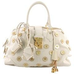 Louis Vuitton Polka Dot Panama Bowly Handbag Embellished Canvas