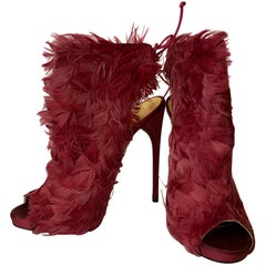 Tom Ford Red Sandal in ostrich feathers
