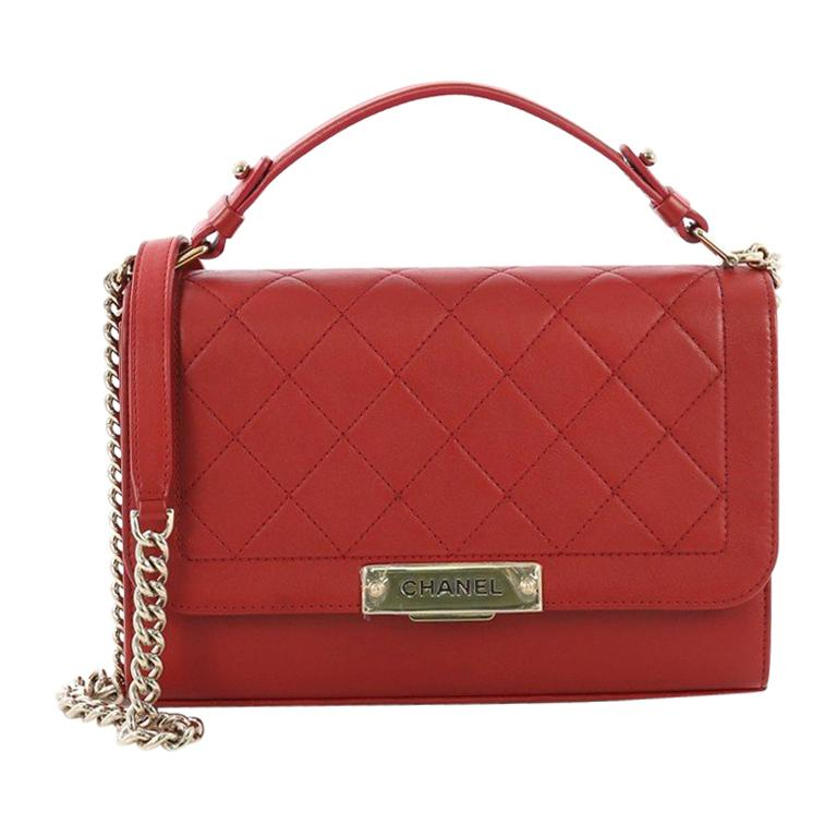 d26402d1d625 Chanel Label Click Flap Bag Quilted Calfskin Medium For Sale at 1stdibs