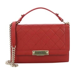 Chanel Label Click Flap Bag Quilted Calfskin Medium