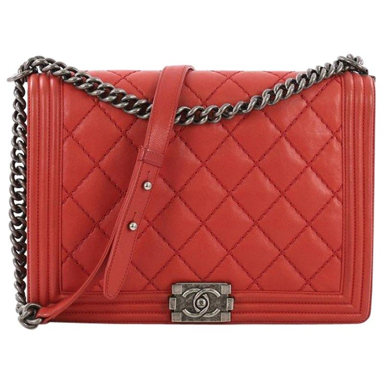 0b5110abe9a5 Chanel Stitch Boy Flap Bag Quilted Calfskin Large at 1stdibs