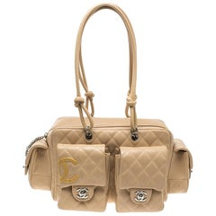 Chanel Beige Quilted Leather Ligne Cambon Reporter Bag