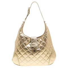 Burberry Gold Quilted Leather Brooke Hobo