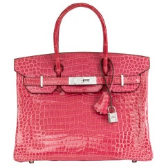 2006 Hermes Fuschia Shiny Porosus Crocodile Leather 'Diamond' Birkin 30cm