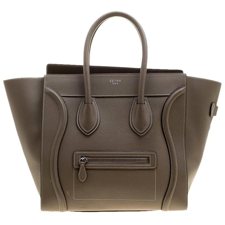 54299e88eee9 Celine Khaki Leather Mini Luggage Tote For Sale at 1stdibs