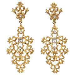 Gold Tone Clear Rhinestones Flower Bows Chandelier Vintage Statement Earrings
