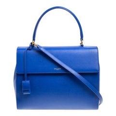 Saint Laurent Blue Leather Medium Moujik Top Handle Bag
