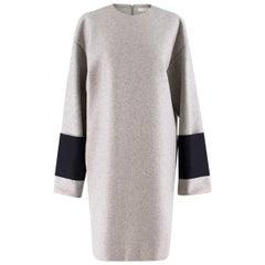 Celine contrast-cuff wool shift dress US 6