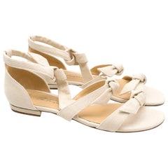 Alexandre Birman Off White Canvas Lolita Sandals - Current US 8.5