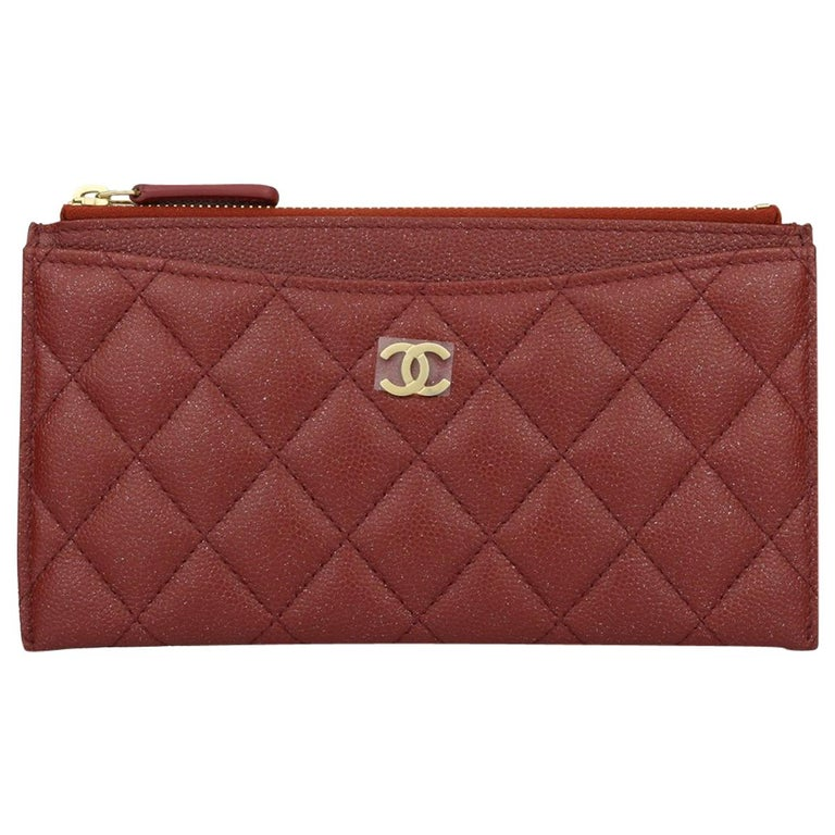 f2e8e3301ad6 CHANEL Pouch Burgundy Caviar Iridescent with Brushed Gold Hardware 2018 For  Sale