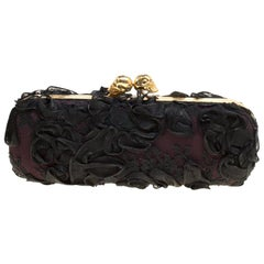 Alexander McQueen Black Lace Skull Crystal Clutch