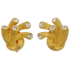 1955 Trifari Jeweled Embers Gold Plated Clip On Earrings with Clear Rhinestones