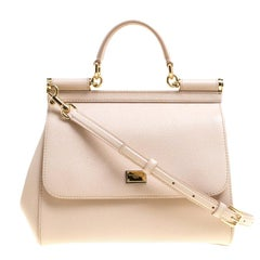 Dolce and Gabbana Beige Leather Medium Miss Sicily Satchel