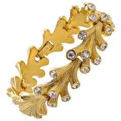 1955 Trifari Jeweled Embers Gold Plated Link Bracelet with Clear Rhinestones