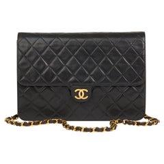 1997 Chanel Black Quilted Lambskin Vintage Medium Classic Single Flap Bag