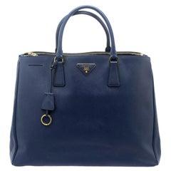 Prada Blue Saffiano Lux Leather Double Zip Executive Tote