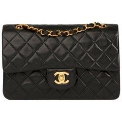 1991 Chanel Schwarz Gesteppte Lammfell Vintage Kleine Klassische Double Flap Tasche