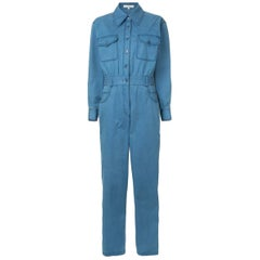 Tibi washed indigo twill pocket jumpsuit - Current Season US 4