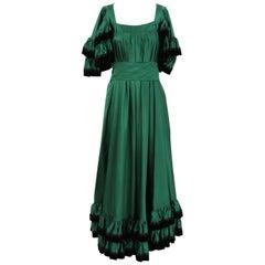 Stop Sénès Green Long Vintage Dress, 1970s