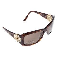 Bvlgari Braune Havana 8007-B Verschönerte Kristall Rechteckige Sonnenbrille