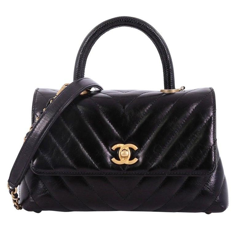 Chanel Coco Top Handle Bag Chevron Calfskin With Lizard