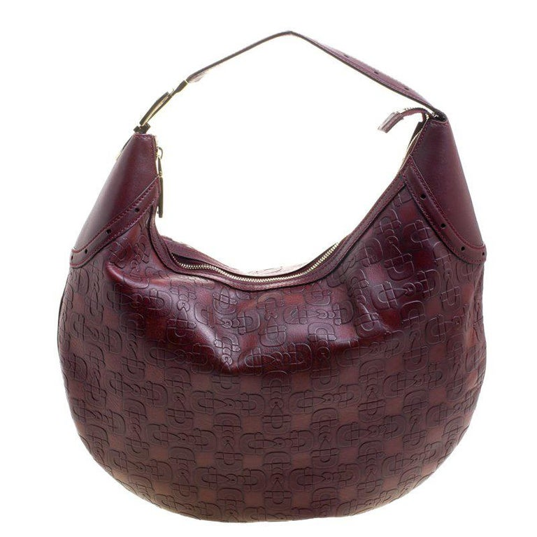 b43c97d7a18151 Gucci Burgundy Horsebit Embossed Leather Buckle Hobo For Sale at 1stdibs