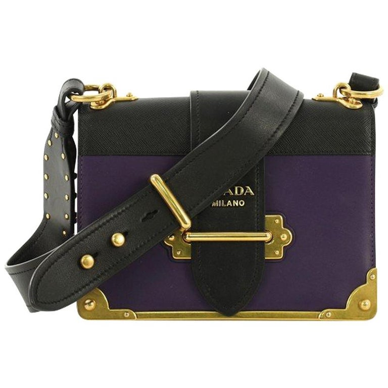 56cfd7051f95 Prada Cahier Crossbody Bag City Calf and Saffiano Leather Small For Sale