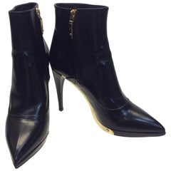 Louis Vuitton Black Patent Leather Bootie with Gold