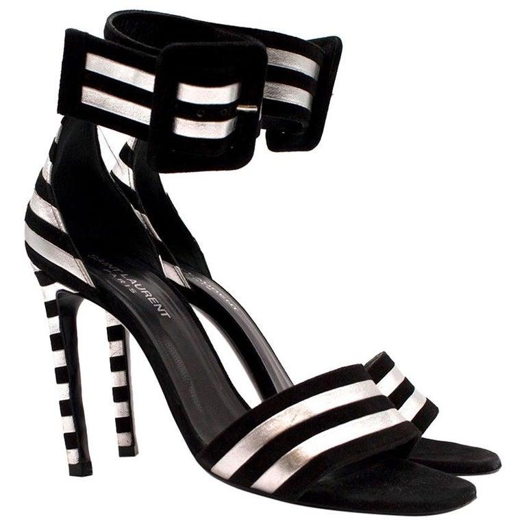 c6de245d6ff Saint Laurent Paloma Striped Sandals US 7 For Sale. Saint Laurent Paloma  Striped Heeled Sandals - Black suede and ...