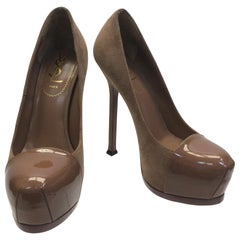 Yves Saint Laurent Nude Suede and Patent Leather Heels