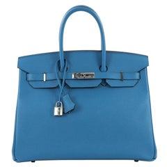 Hermes Birkin Handbag Bleu Zanzibar Epsom with Palladium Hardware 35