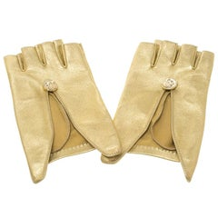 Chanel Gold Leather Fingerless Gloves 7.5