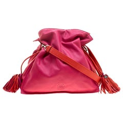 Loewe Pink/Coral Leather Flamenco Shoulder Bag