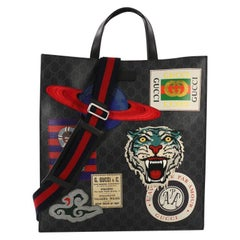 Gucci Courrier Convertible Soft Open Tote GG Coated Canvas with Applique North