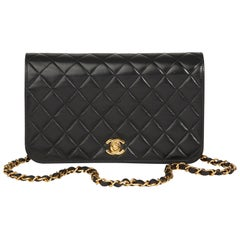 2003 Chanel Black  Quilted Lambskin Vintage Small Classic Single Full Flap Bag