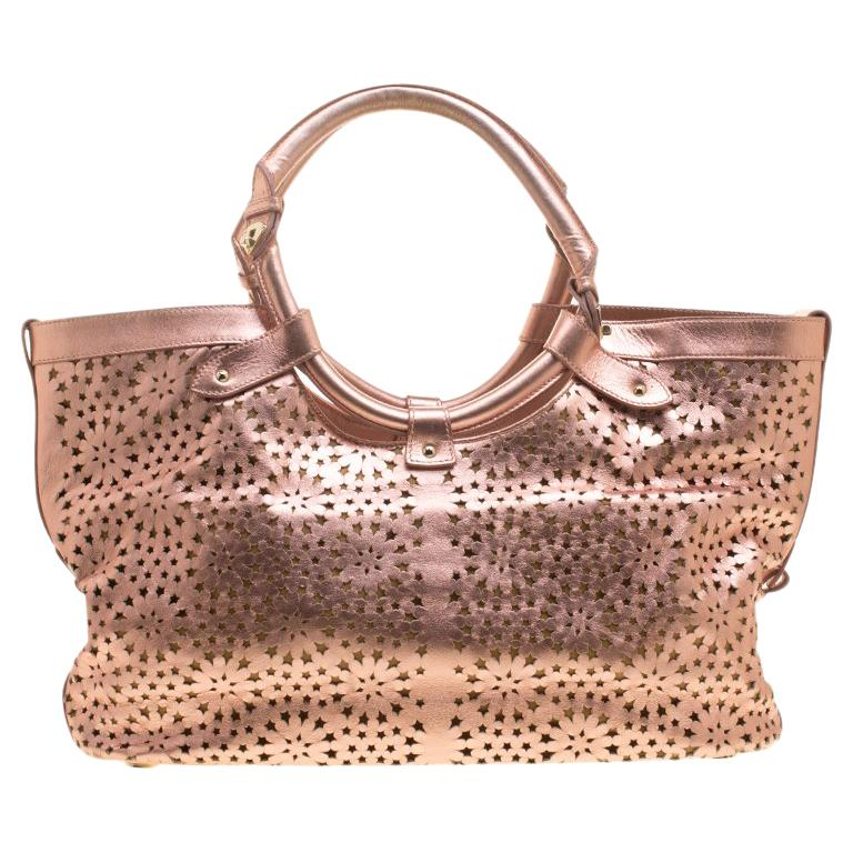 5b92d35db7 Jimmy Choo Metallic Rose Gold Leather Laser Cut Out Open Tote For Sale