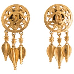 A Pair of Vintage Chanel Gold Toned Clip-On Dangle Earrings