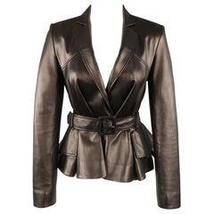 CHRISTIAN DIOR Size 4 Black Leather Belted Peplum Blazer
