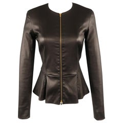 THE ROW Size 4 Black Leather Zip Peplum ANASTA Jacket