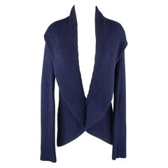 RALPH LAUREN Size L Blue Mercerized Cotton Shawl Collar Cardigan